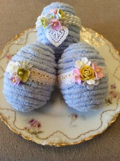 Blue Chenille Eggs set of 3 by ThePinkPair on Etsy