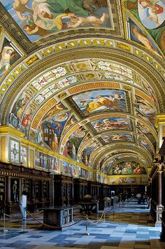 The Monastery of El Escorial Library located some 30 miles northwest of Madrid, Spain, in the foothills of the Sierra de Guadarrama, was built as a monument to commemorate the Spanish victory over the French in the battle of Saint Quentin in World's Most Beautiful, Beautiful Places, Beautiful Buildings, Escorial Madrid, Places In Spain, Beautiful Library, Spain And Portugal, Chapelle, Kirchen