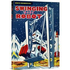 Global Gallery 'Swinging Baby Robot' by Retrobot Vintage Advertisement on Wrapped Canvas
