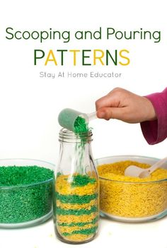 Scooping and Pouring Patterns! Take scooping and pouring activities to the next level by challenging preschoolers to make patterns while they scoop and pour! fathers day present ideas, best mothers day gifts, fathers day hat Montessori Preschool, Preschool Lessons, Preschool Classroom, Preschool Learning, Classroom Activities, In Kindergarten, Preschool Life Skills, Maths Eyfs, Montessori Elementary