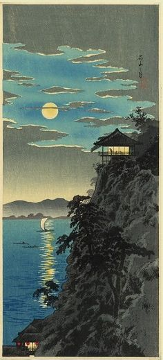 Teahouse in the Moonlight   -  Takahashi Shotei  c.1930's, Japanese  1871-1945 Woodblock:
