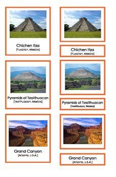 Landmarks in North America (3 Part Montessori Cards)