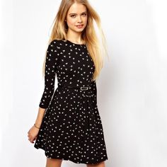 Autumn 2013 Three Quarter Sleeve O-neck Bird Animal Print Womens A-line Above-knee Dress with Belt Size S M L XL Sale Now only $19.89
