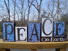 Peace On Earth Wooden Blocks, Christmas Blocks, Christmas Decor, Merry Christmas Decor. $22.00, via Etsy.