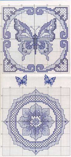 Darla Williams - cross stitch- blue Delft blue butterfly and flower : Farfalla Monocolore Biscornu Cross Stitch, Cross Stitch Charts, Cross Stitch Designs, Cross Stitch Embroidery, Cross Stitch Patterns, Butterfly Cross Stitch, Cross Stitch Flowers, Delft, Blackwork