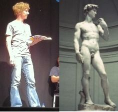Benedict Cumberbatch and Michelangelo's David... I see no difference <-- I do! One's a flawless masterpiece. The other is David.