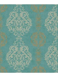The classicism of a damask stripe is presented in eleven striking color combinations. Large scale central medallions are printed in raised inks for rich texture, while the lateral designs and background are smooth. Appropriate for traditional or modern décor in such shades as cream, primrose yellow and graphite, or grey, chambray and pale gold, coordinate with Houndstooth or Trellis Sidewall.