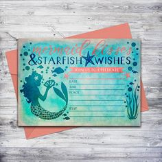 Printable mermaid invitation in blue and coral!  Just download, print, and write in the party details.  #mermaidparty #invitation