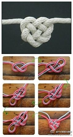 Heart knot - could be made into keepsakes for favors or you could add a clip to the back to hold name cards