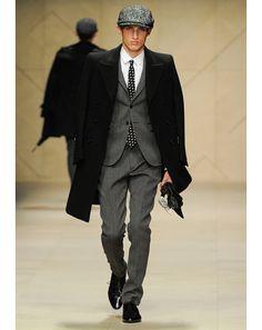 Burberry DB wool coat worn over the tweed suit