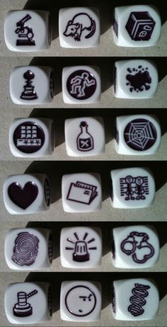 Each face of each die. Story Cubes, Therapy Games, Make A Game, Stamp Carving, Story Stones, Horse Crafts, Tabletop Games, Game Concept, Craft Activities