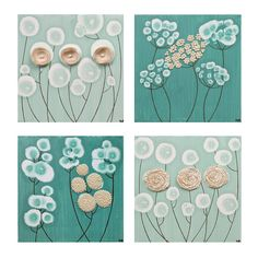 canvas wall art set of four flower paintings khaki and teal home decor