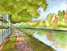 Chemin de halage, aquarelle, Annie Collette Annie, Painting, Art, Watercolor Painting, Paint, Painting Art, Paintings, Kunst, Draw