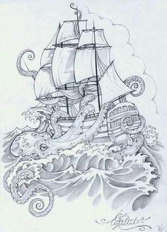 kraken and ship tattoo Tatoo Art, Arm Tattoo, Sleeve Tattoos, Tattoo Flash, Ankle Tattoos, Tattoo Small, Tattoo Ship, Tattoo Sketches, Tattoo Drawings