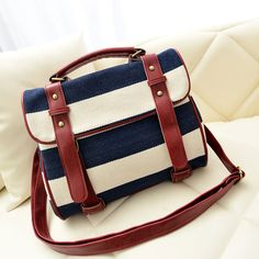 Image of Fashion Striped Canvas Shoulder Bag Costura Bolsa 755be7b7d99ca