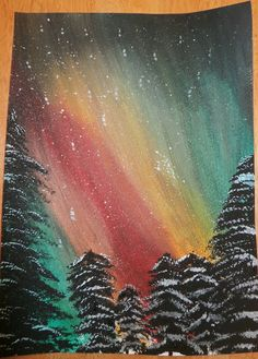How I Encourage and Teach Painting in our Homeschool - Slices of Life - How I En. How I Encourage and Teach Painting in our Homeschool – Slices of Life – How I Encourage and Tea Night Sky Painting, Forest Painting, Galaxy Painting, Canvas Painting Designs, Canvas Painting Landscape, Norway Landscape, Northern Lights Norway, School Painting, Winter Art