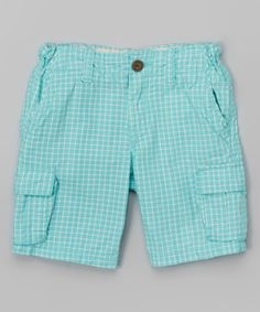 Look at this Graphic Green Plaid Collin Cargo Shorts - Infant, Toddler & Boys on #zulily today!