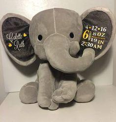 Custom Birth Announcement Plush Doll Elephant