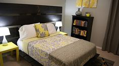 love this bed!  http://livingsmallisbeautiful.blogspot.com/2010/11/yellow-and-gray-bedroom-update.html#