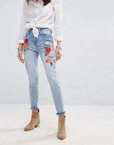 Boohoo | Boohoo High Rise Embroidered Skinny Jean