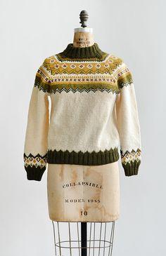 vintage 1960s cream olive fair isle sweater