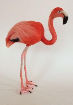 Pink Flamingo Needle Felted Wildlife by TheTowerMenagerie on Etsy
