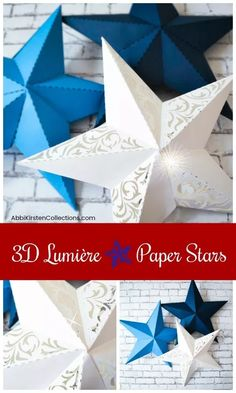 Paper Star Template: Paper Star Instructions and Free Template. If you're interested in a fun paper star lumieres tutorial and a free template, you've come to the right place! Diy Christmas Star, Christmas Paper, Holiday Crafts, Holiday Ideas, 3d Templates, Templates Printable Free, Paper Craft Templates, 3d Paper Crafts, Diy Paper