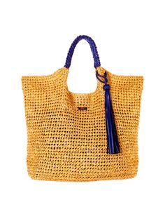 #Borsa #shopper in #rafia con nappina pendente blu