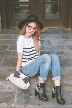 Tricia Gosingtian - Denim Closet Pants, Larone Bag, Emoda Top, Esperanza Boots, Murua Glasses - 011615