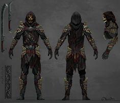 Shadowscale armor, Sergey Demidov on ArtStation Skyrim Concept Art, Armor Concept, Character Concept, Character Art, Character Design, Fantasy Armor, Medieval Fantasy, Skyrim Armor Mods, Bone Armor
