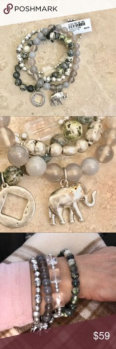 New agate and silver stack Bracelet Gorgeous natural agate stone and antique silver stack of 4 bracelets from J-.Jill Elephant and circle cut out square charms. Beautiful addition to your wardrobe! J.Jill Jewelry Bracelets