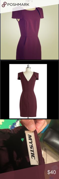 Wine tasting soirée dress The ruffled shoulder, sleeveless ensemble  dress in burgundy is a perfect match for an evening's festivities, pair your timeless piece with cream slingback heels, a silver cuff, and pearl stud earrings.   - 85% Polyester, 12% Viscose, 3% Spandex. - Fabric provides stretch. Mystic Dresses