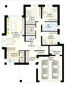 Bagatela V S projekt - Parter m² + garaż m² 20 M2, House Entrance, Ground Floor, Facade, My House, House Plans, Floor Plans, House Design, Flooring