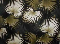 Kailua Black Tropical Hawaiian Palm Ferns pattern on nubby bark cloth.