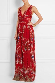Roberto Cavalli Floral-Print Plissé Silk-Georgette Gown