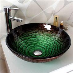Modern Waschbecken Rund Glas Aufsatz Waschschale mit Wasserfall ... | {Waschbecken rund glas 74}