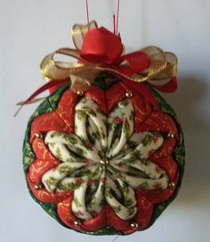 Holly Bloom Christmas Quilted Ornament