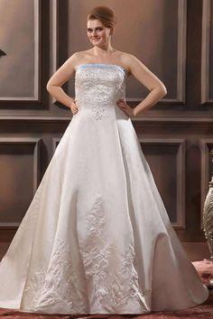 MANDY - A-line Strapless Chapel train Satin Wedding dress