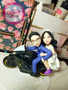 Polymer clay bride and groom on a motorcycle wedding cake topper display figure Wedding Cake Toppers, Wedding Cakes, Motorcycle Wedding, Polymer Clay Cake, Order Cake, Elegant Cakes, Groom, Display, Bride