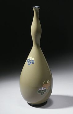Namikawa Yasuyuki (Japan, 1845 - 1927)   Gourd-shaped Vase, late Meiji period, circa 1905-1910  Enamel, Cloisonné with gold wire and silver mounts, 8 5/16 x 2 7/8 in