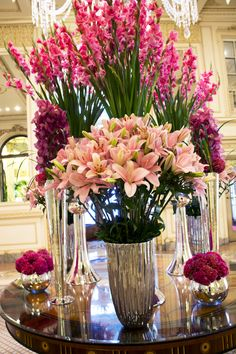 Our beautiful #pink #flower arrangements for this week's table at The Plaza Hotel.