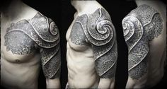 beautiful dotwork piece streching from chest, shoulder to arm