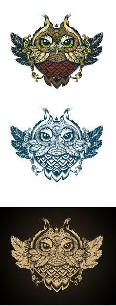 Owl by Sergey Kovalenko, via Behance