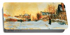 Snow Effect The Street In Argentuil Portable Battery Charger featuring the digital art Claude Monet - Snow Effect The Street In Argentuil by PixBreak Art