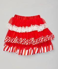 Loving this Red & White Tiered Skirt - Toddler & Girls on #zulily! #zulilyfinds