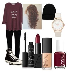 """""""Not sure about this one"""" by annashahbaz1 ❤ liked on Polyvore featuring J Brand, Converse, MANGO, NLY Accessories, NARS Cosmetics and Essie"""