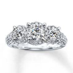 3-Stone Diamond Ring 2 ct tw Round-cut 14K White Gold