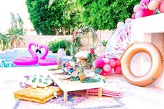 Loving this Tropical Bridal shower pool party! The decor is gorgeous! - Loving this Tropical Bridal shower pool party! The decor is gorgeous! See more party ideas and shar - Pool Party Themes, Pool Party Decorations, Bachlorette Party, Bachelorette Party Decorations, Party Ideas, Bachelorette Pool Parties, Girl Pool Parties, Bachelorette Ideas, Tropical Bridal Showers