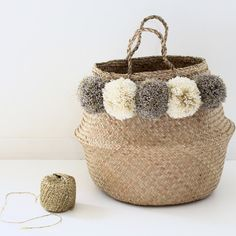 Grote Thaise mand PomPoms Taupe Ecru goud/goud door JackyAndFamily