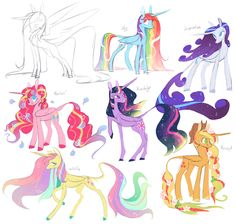 Mane 6 as alicorn princesses cause idk; why not I'd love to animate the motion I imagine in each of their manes one day but I'm lazy /shrug